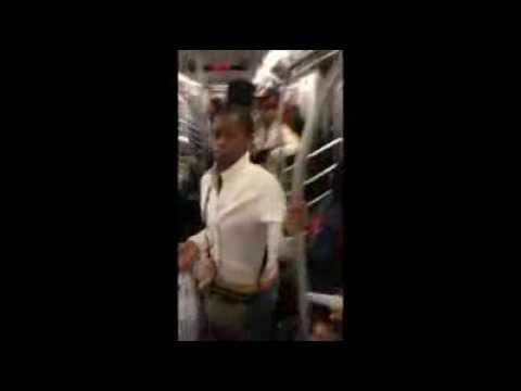NYC train fight between woman and her man for giving her AIDS